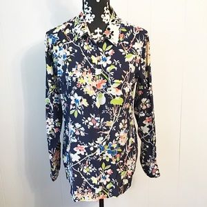 Equipment Femme Silk Floral Print Button Front Top